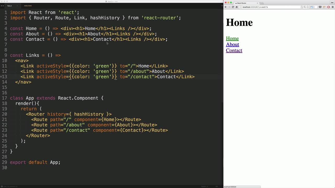 react tutorial about React Router: activeStyle & activeClassName