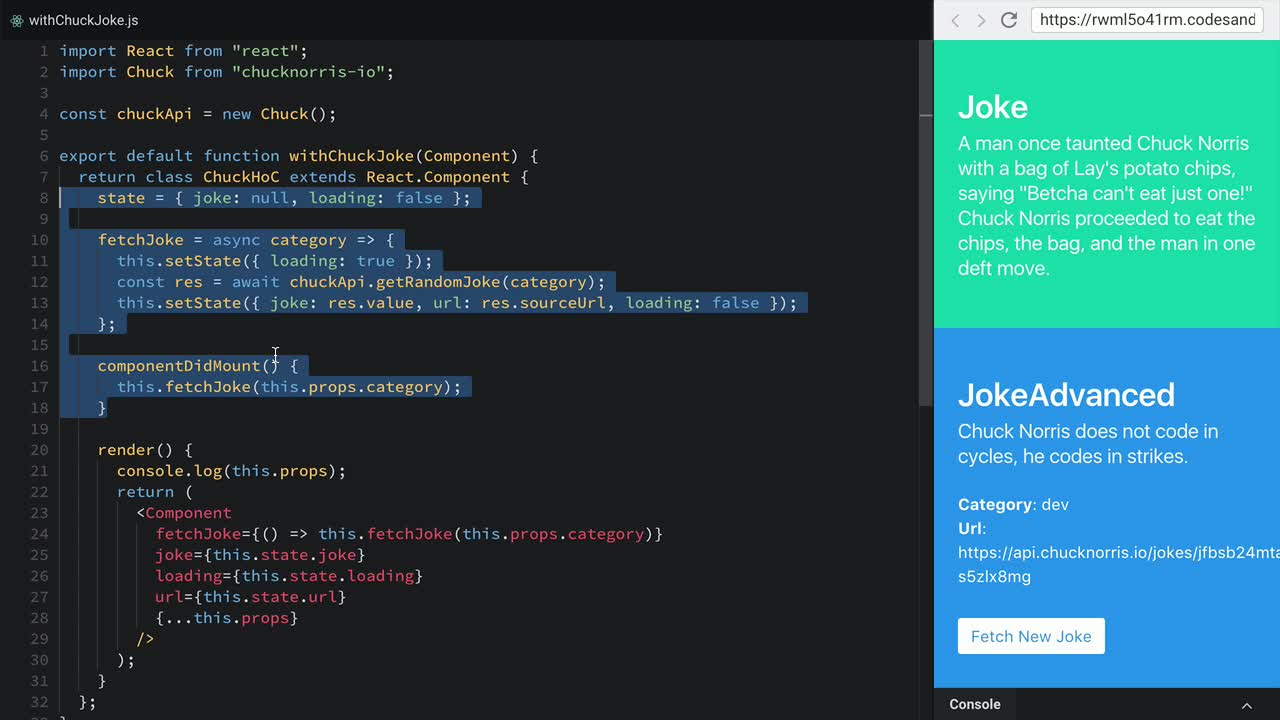 react tutorial about Refactor a Higher-Order Component to a Render Prop Component