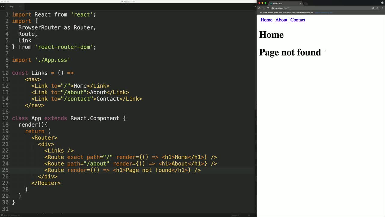 react tutorial about Render Catch-All Routes with React Router v4 using the Switch Component
