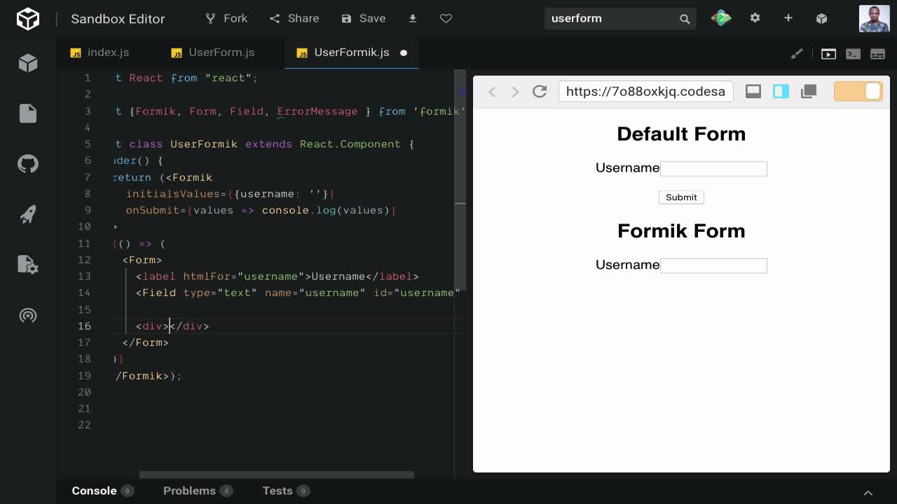Self-Contained Forms in React using Formik from @codebeast
