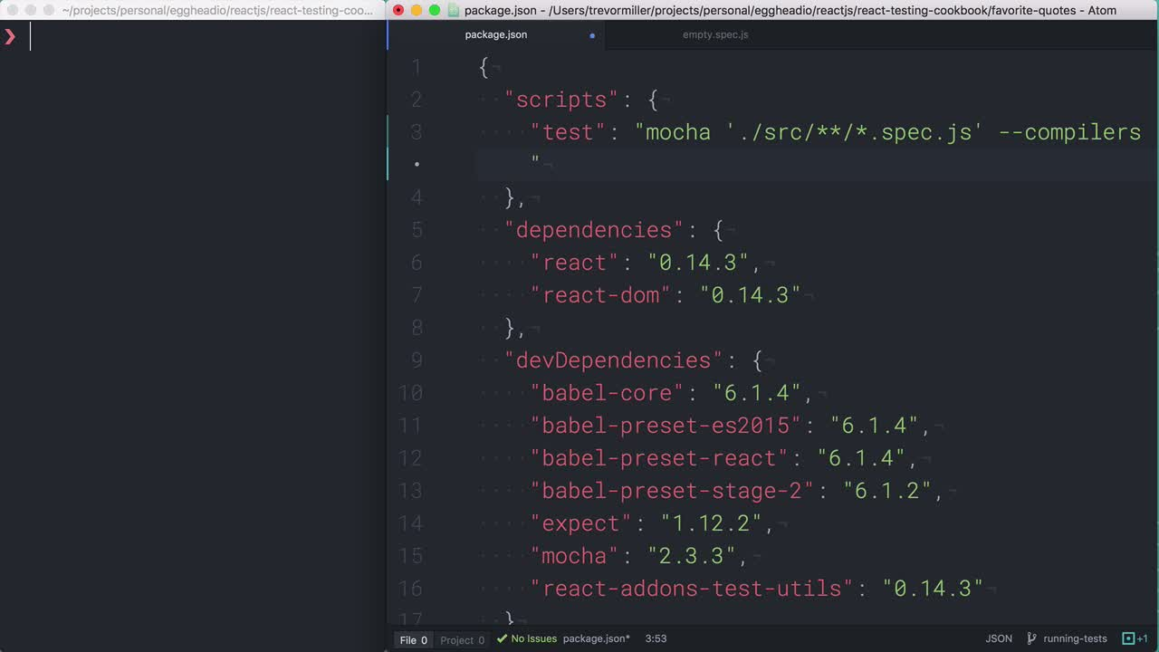 AngularJS tutorial about React Testing: Running tests