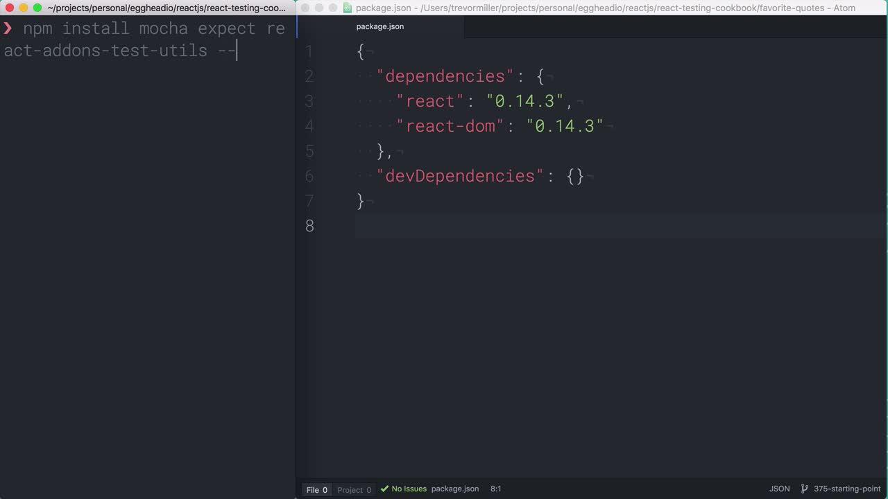 AngularJS tutorial about React Testing: Setting up dependencies
