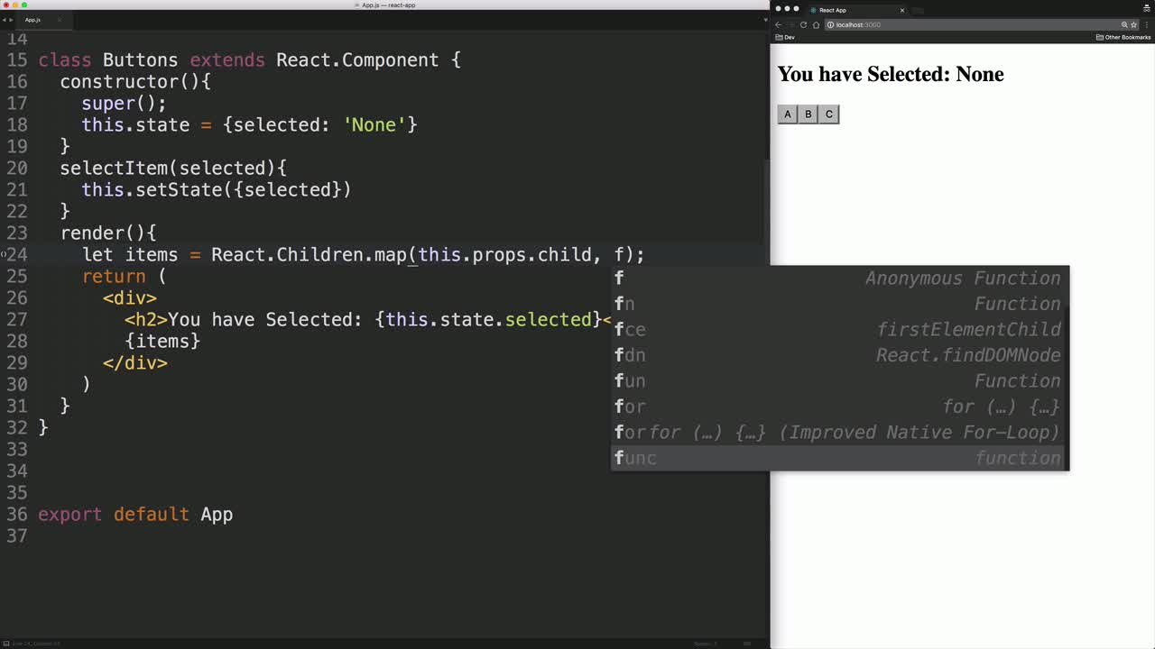 react tutorial about Use React.cloneElement to Extend Functionality of Children Components