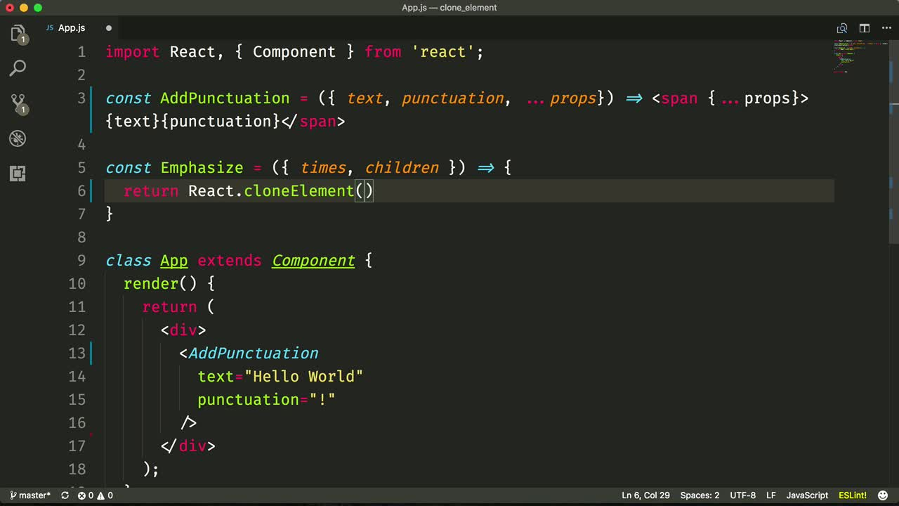react tutorial about Use React.cloneElement to Modify and Add Additional Properties to React Children