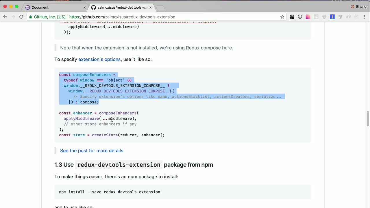 react tutorial about Use Redux Dev-Tools with Preact