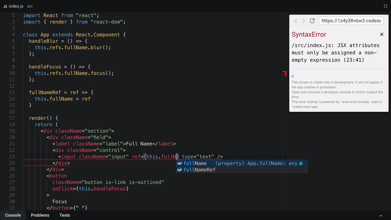 react tutorial about Reference a node using createRef() in React 16.3