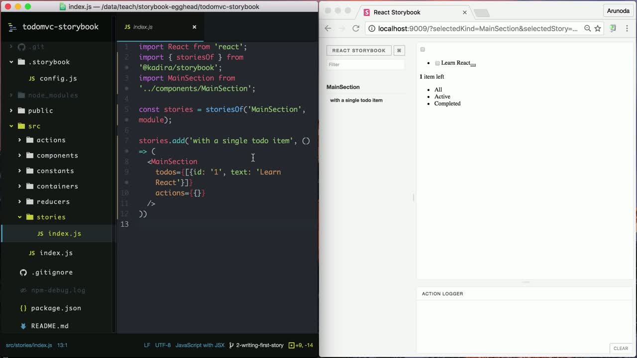 react tutorial about Write the First React Storybook Story