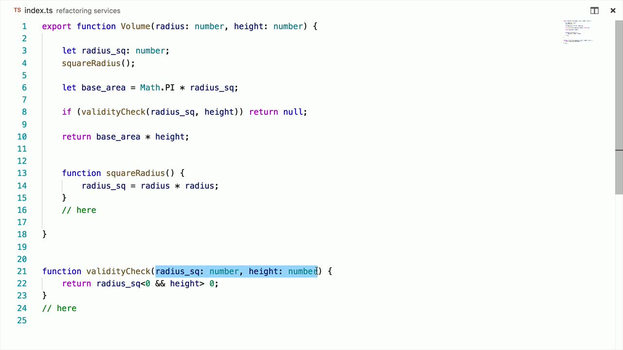typescript tutorial about Refactor Services and Quick Fixes with Typescript 2.5