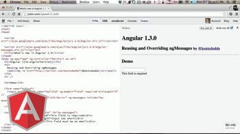 angularjs tutorial about Reusing and Overriding ng-messages