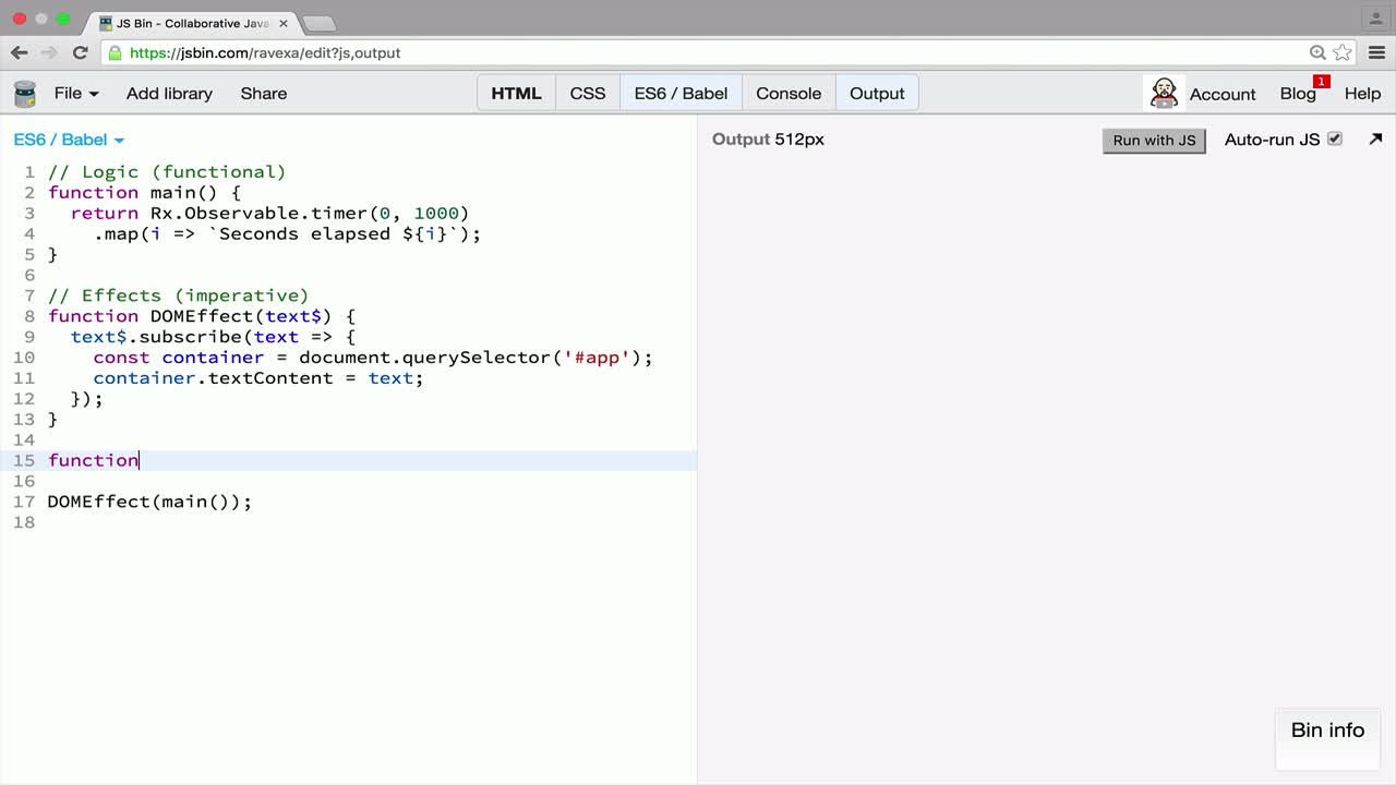 rx tutorial about Organize Code in the Main and Effect Functions