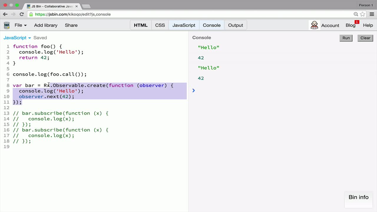 AngularJS tutorial about Observables are almost like Functions