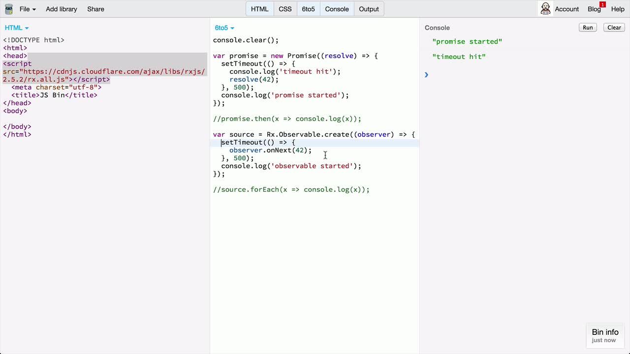 AngularJS tutorial about RxJS Observables vs Promises