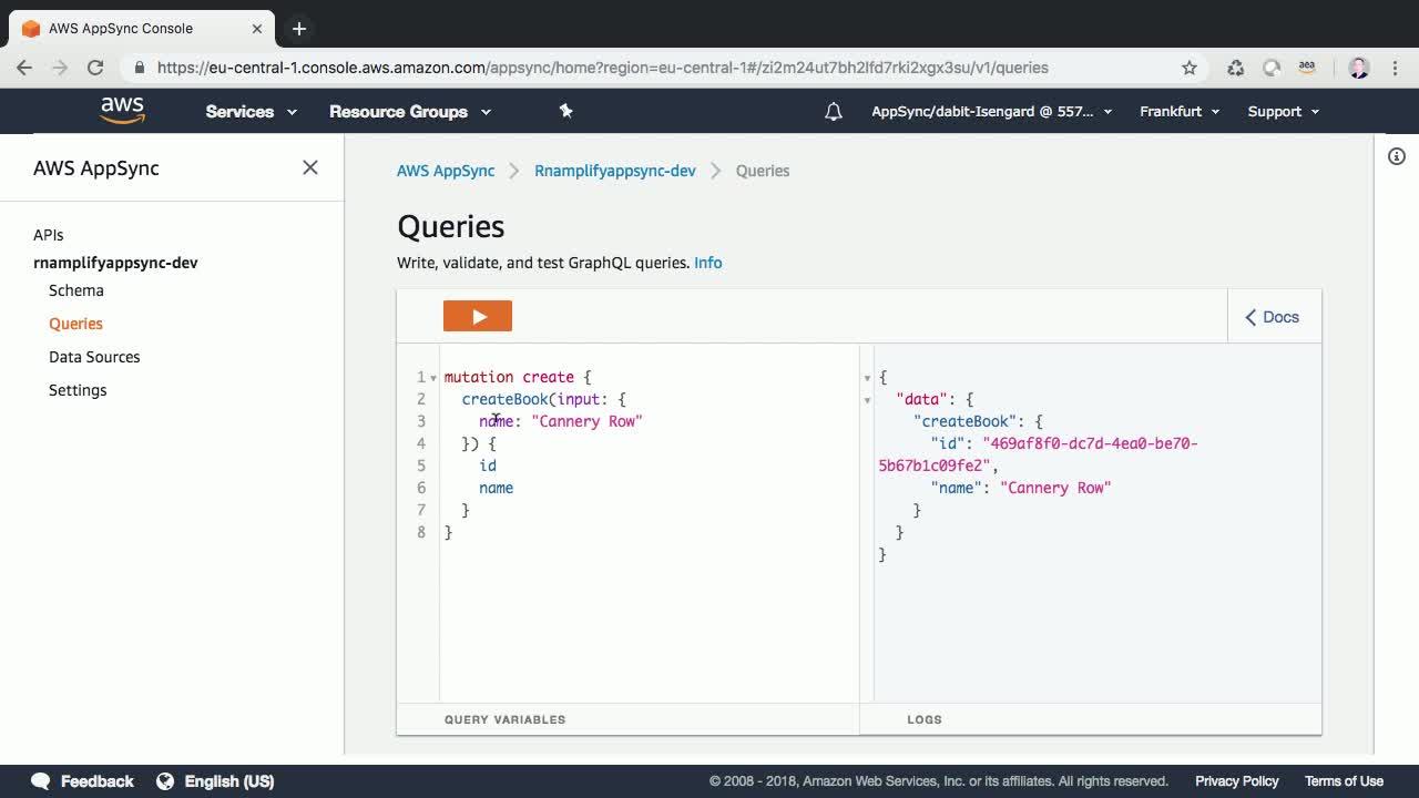 Add a GraphQL API to a React Native App with AWS Amplify