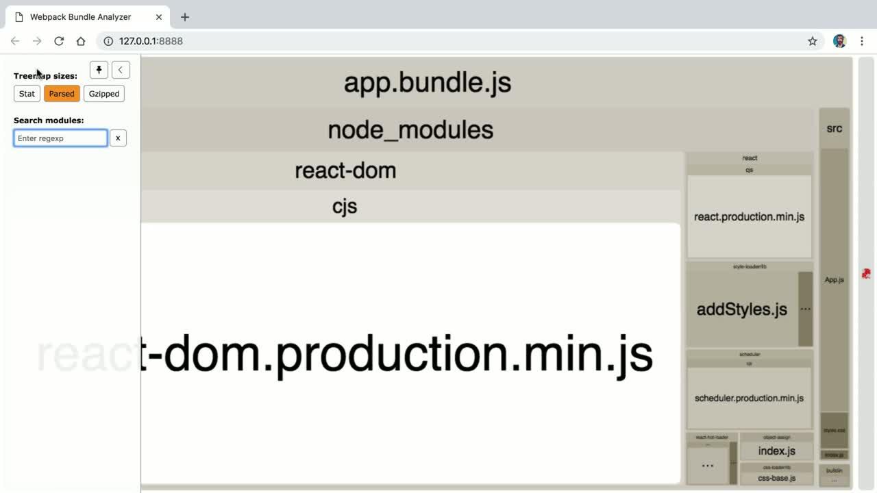 Analyze a Production JavaScript Bundle with webpack-bundle-analyzer