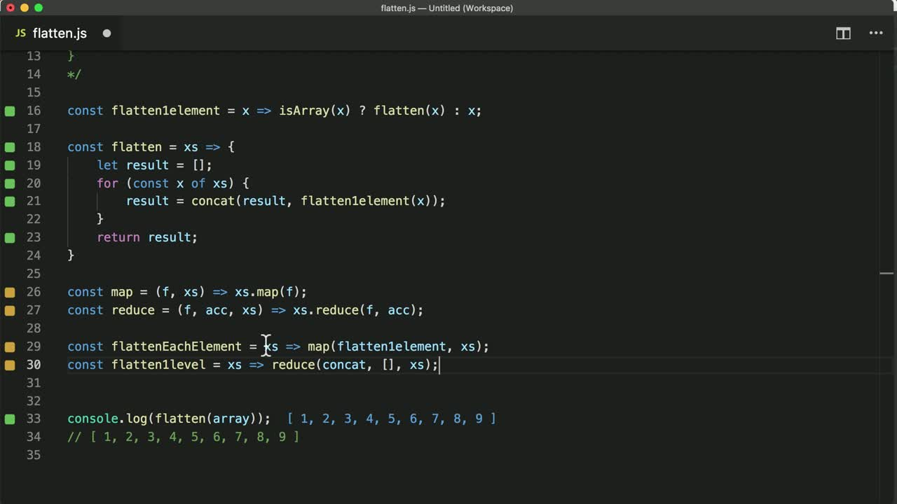 Flattening nested arrays a little exercise in functional refactoring