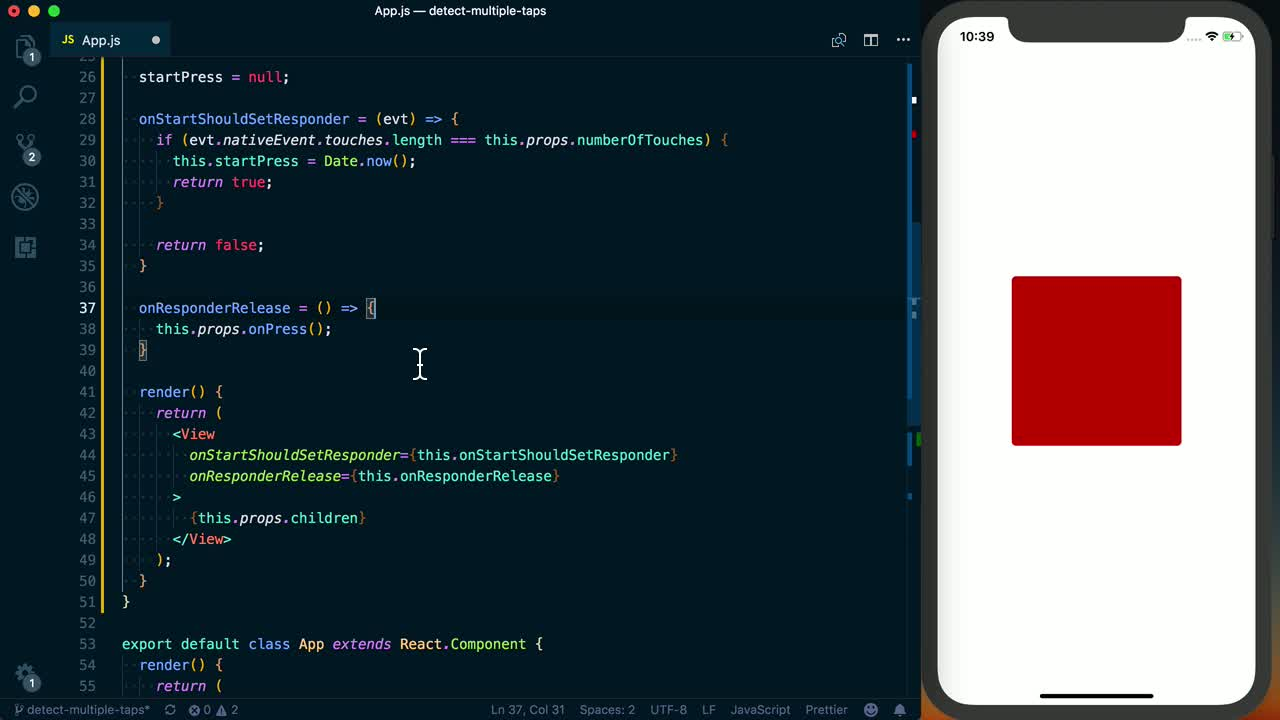 Implement a Long Press Button with React Native's Gesture Responder