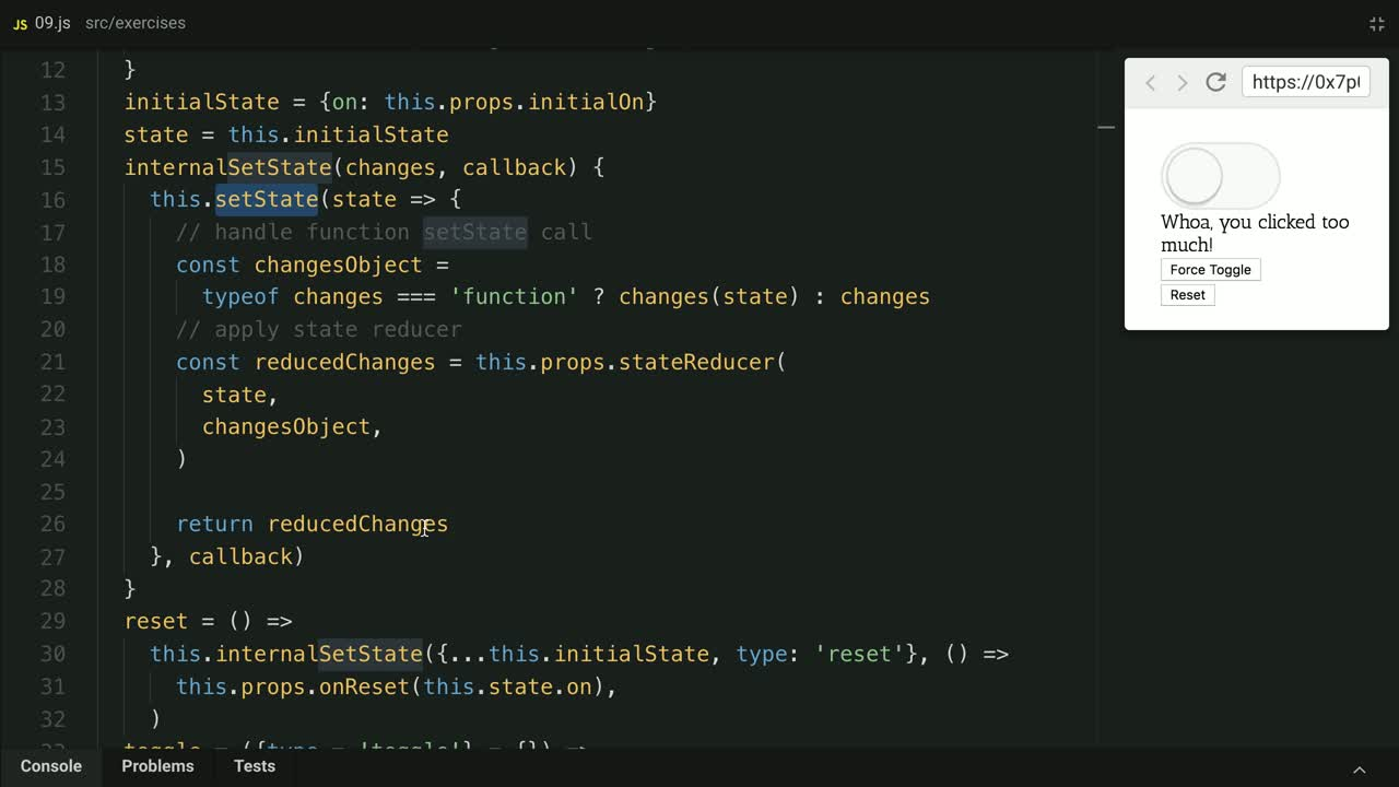 react tutorial about Improve the usability of Component State Reducers with state change types