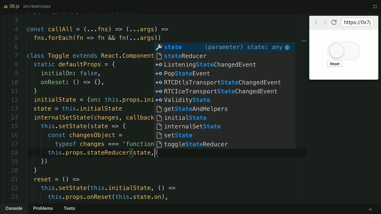 react tutorial about Implement Component State Reducers