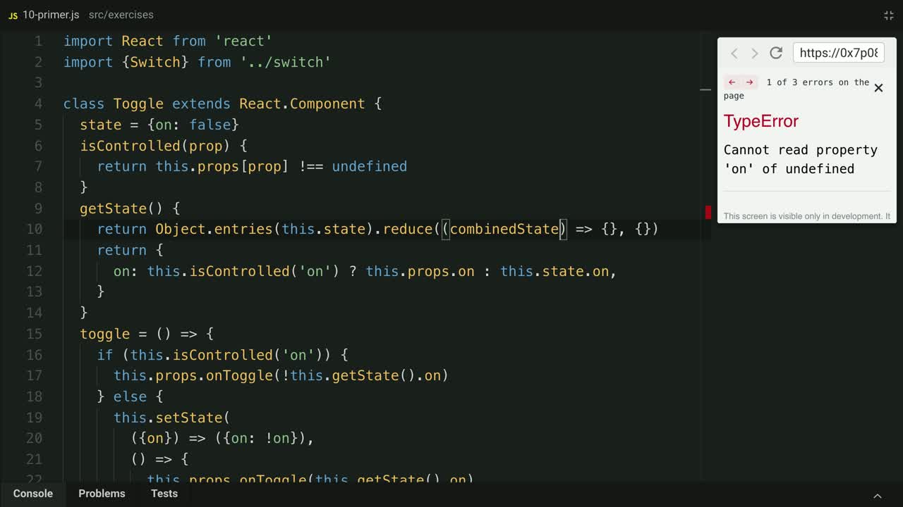 react tutorial about Support Control Props for all state