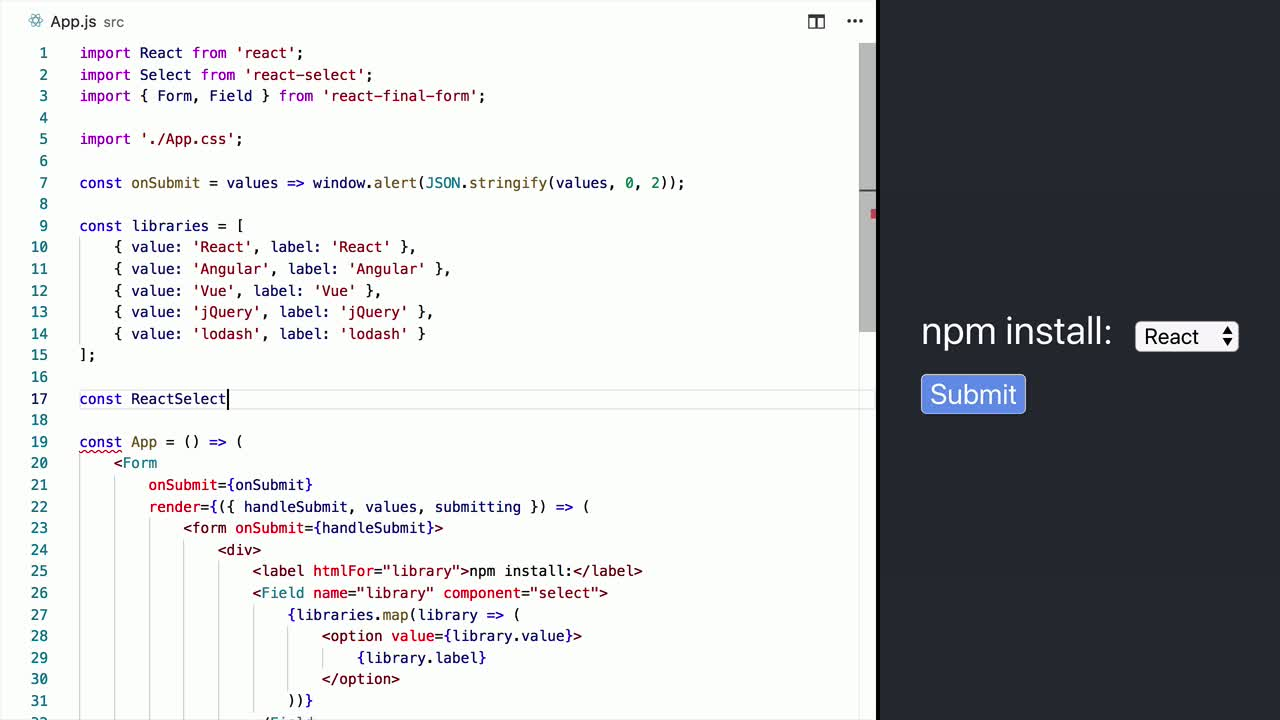 Use third party components (e g  React Select) in React