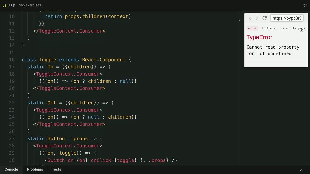 react tutorial about Validate Compound Component Context Consumers