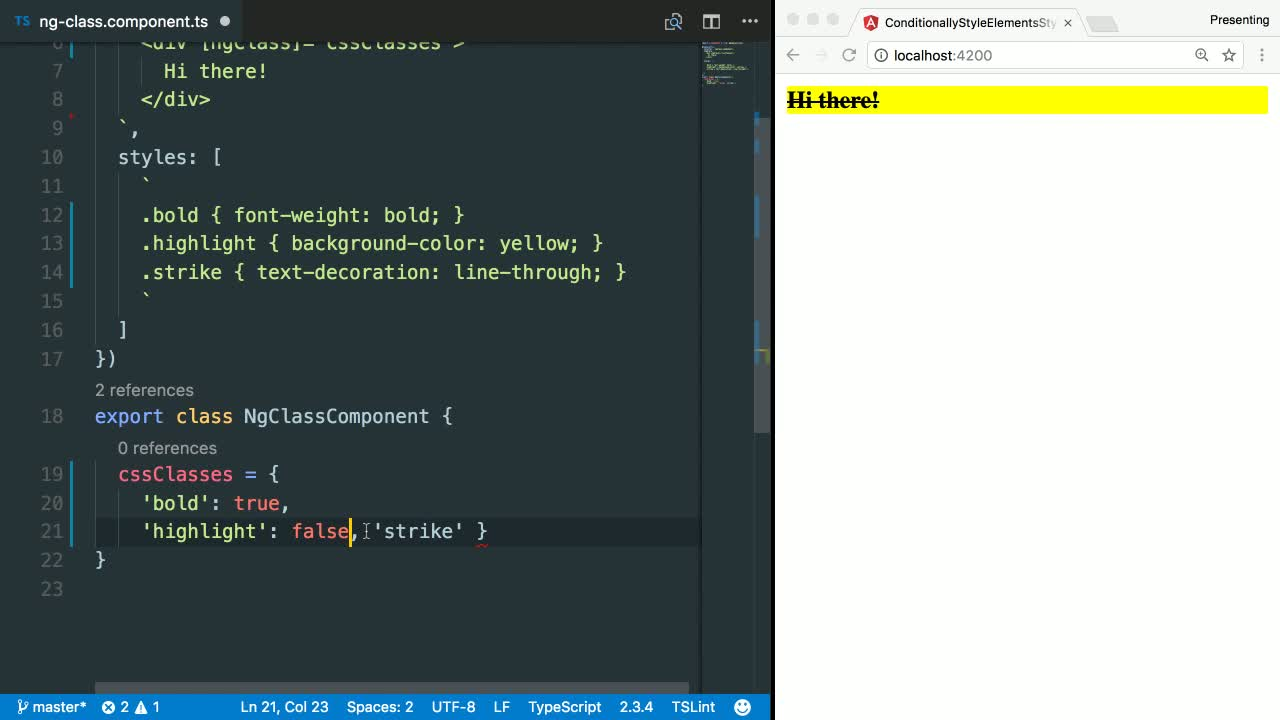 angular2 tutorial about Style HTML elements in Angular using ngClass