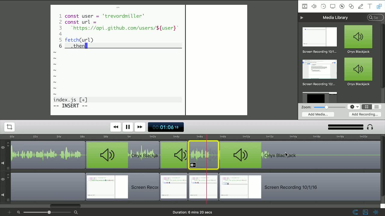 egghead tutorial about Edit a screencast for publication