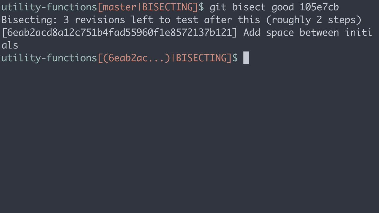 git tutorial about Practical Git: Diagnose which commit broke something with git bisect