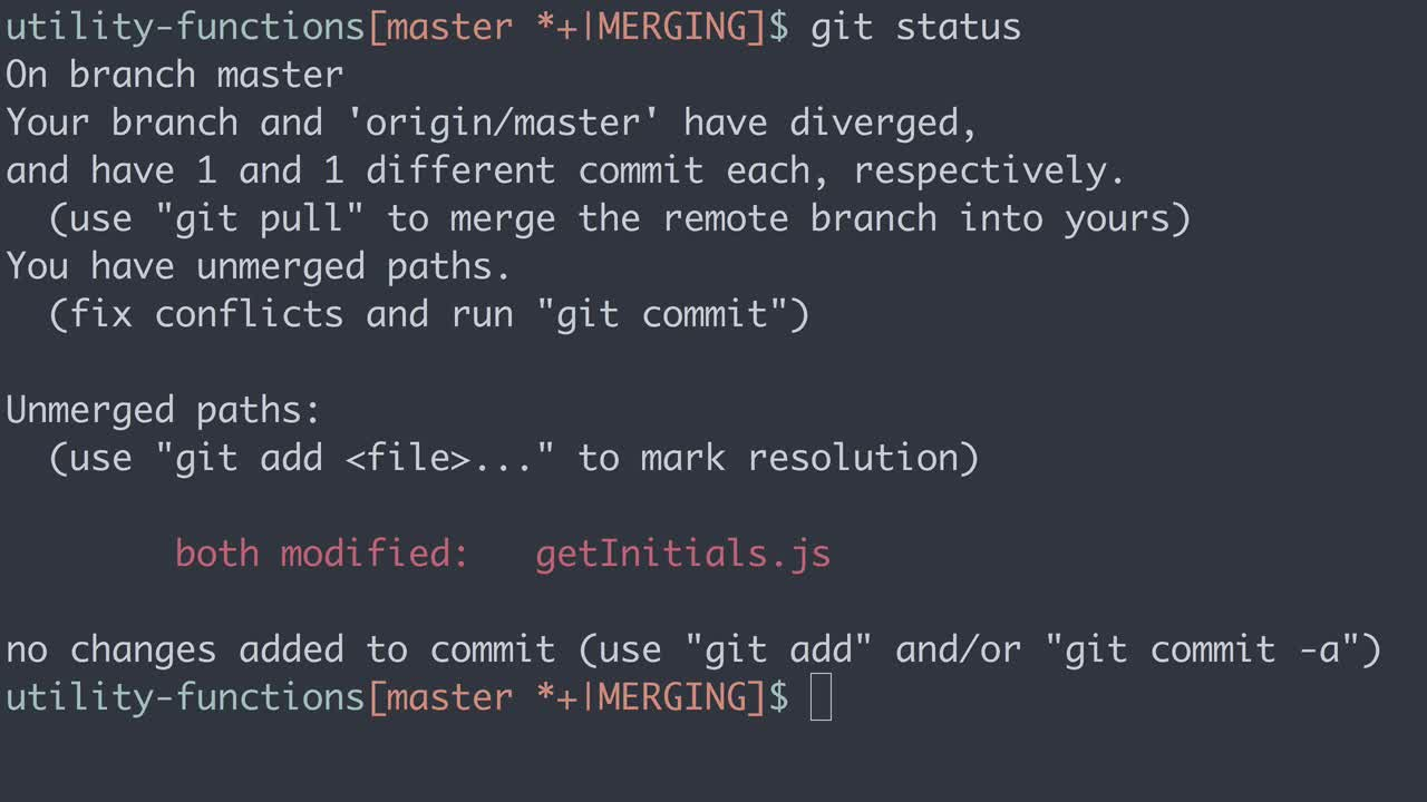 git tutorial about Practical Git: Resolve merge conflicts with git status
