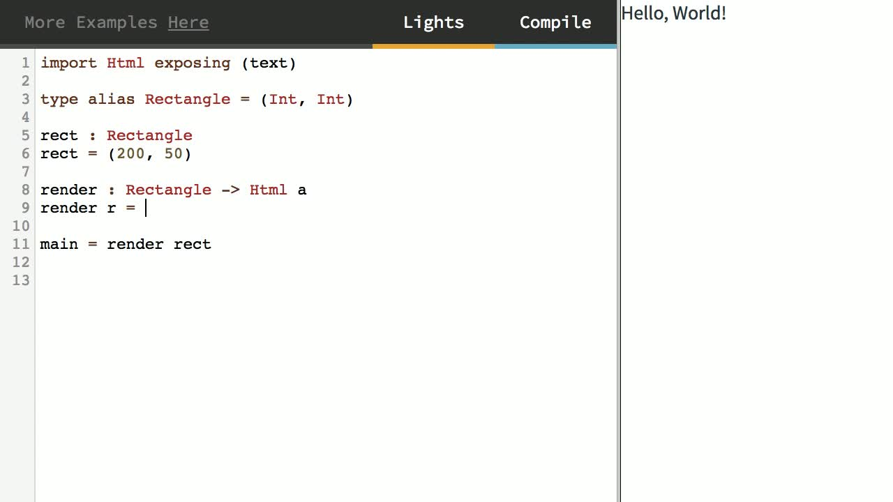 elm tutorial about Model Simple Structures with Tuples in Elm