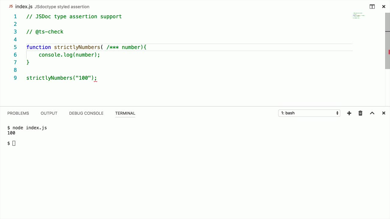 typescript tutorial about Type check JavaScript files using JSDoc and Typescript 2.5