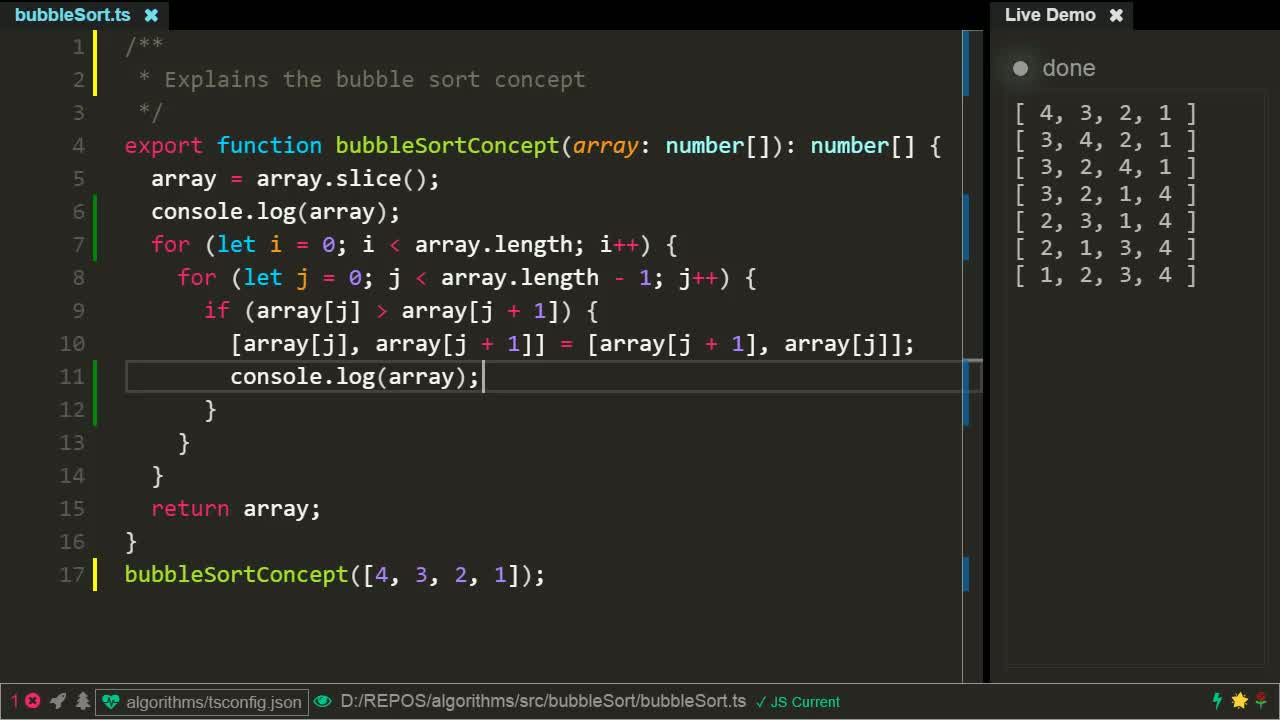 typescript tutorial about Bubble sort using TypeScript