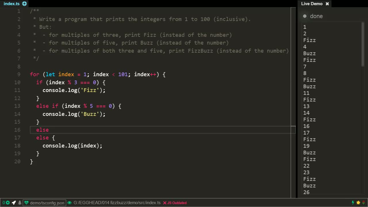 typescript tutorial about Understand the FizzBuzz coding problem and its solution