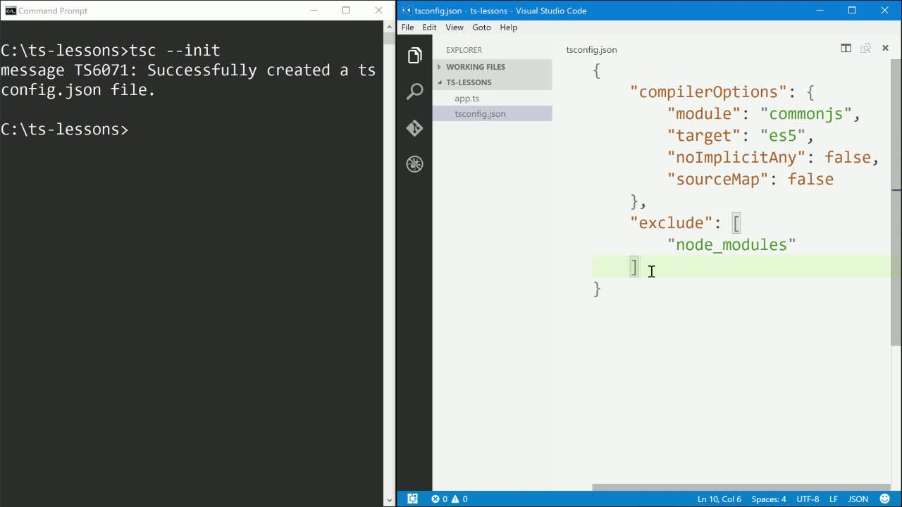 typescript tutorial about Configuring a New TypeScript Project