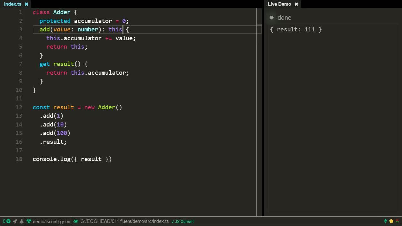 typescript tutorial about  Create a fluent API using TypeScript classes