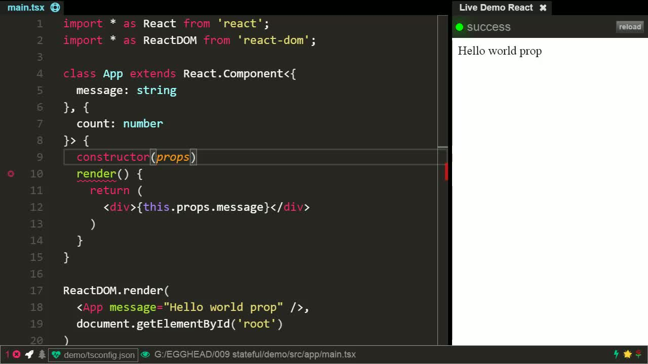 typescript tutorial about Create stateful React Components using TypeScript