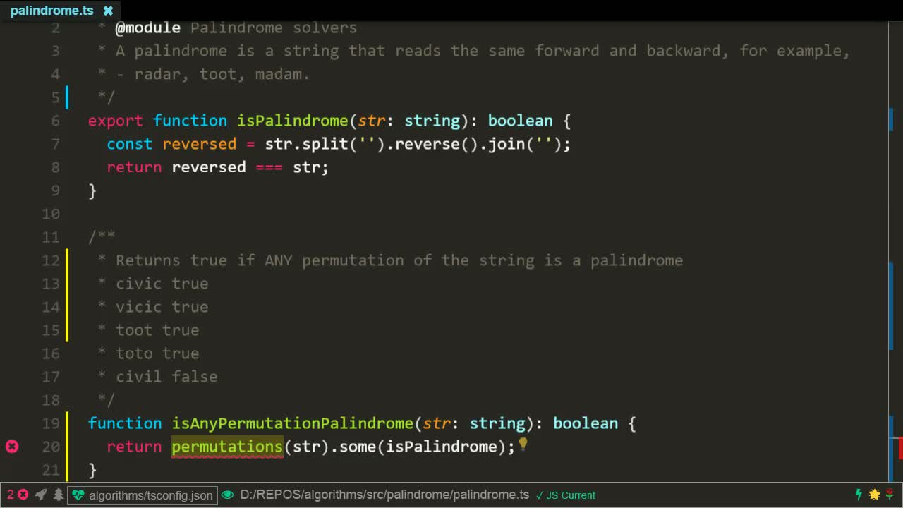 typescript tutorial about Determine if a string is a palindrome