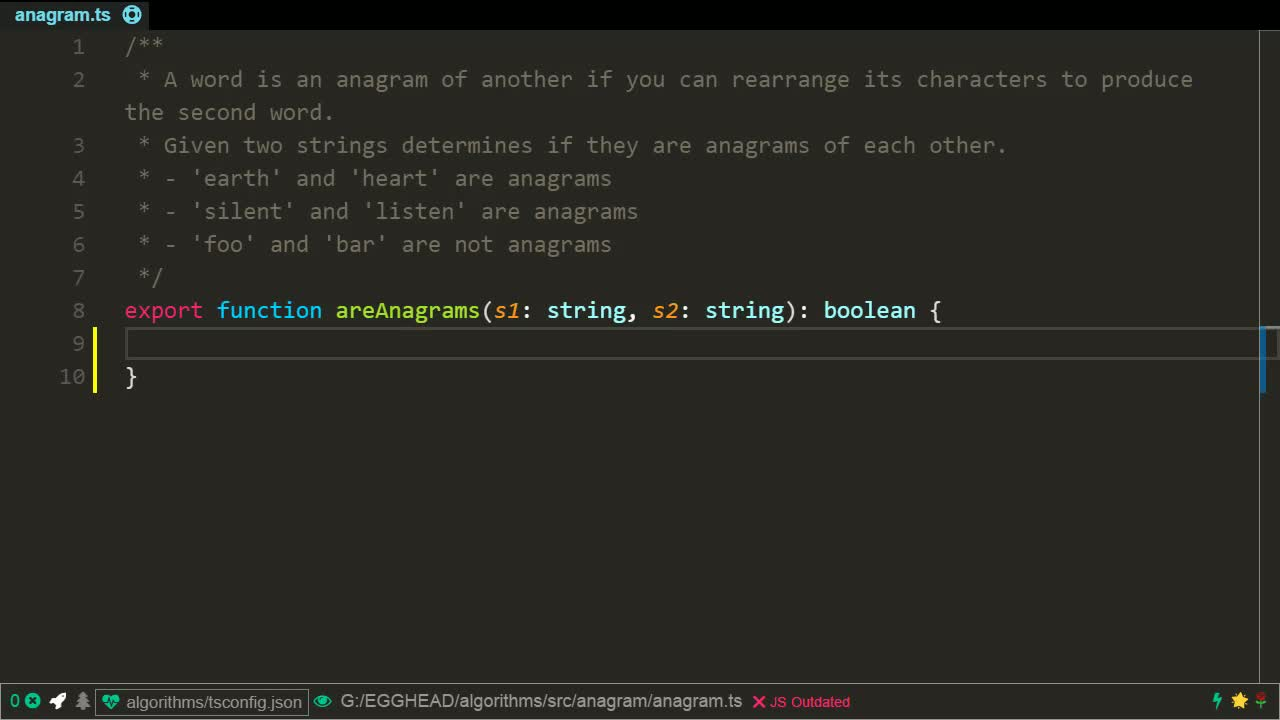 typescript tutorial about Determine if two strings are an anagram