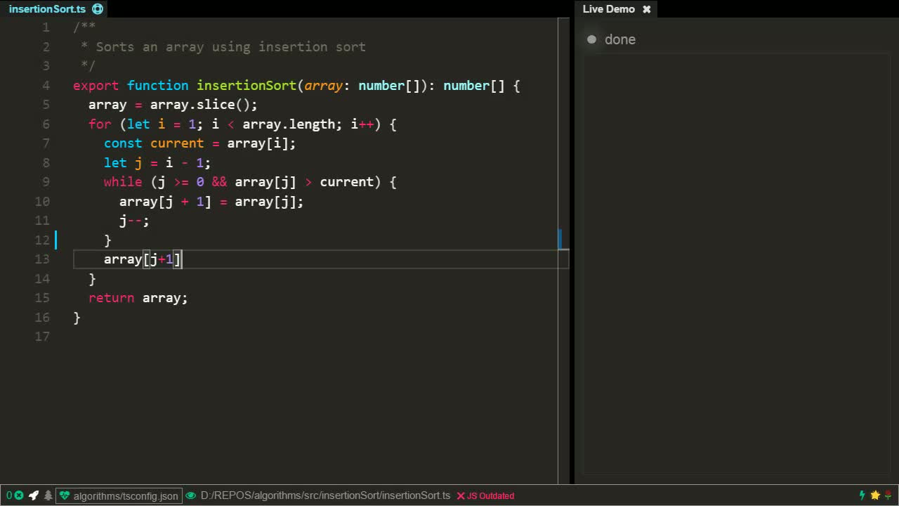 typescript tutorial about Insertion sort algorithm using TypeScript