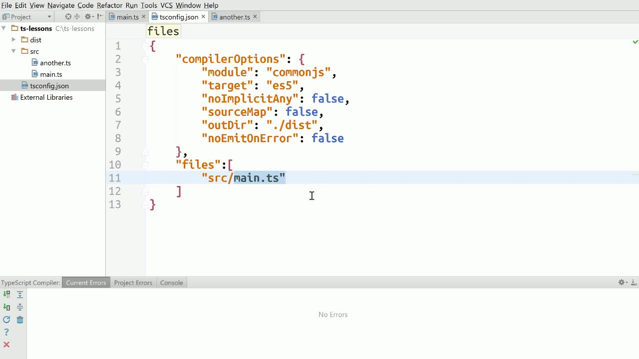 typescript tutorial about TypeScript - Using Exclude and RootDir until File Globs Lands in 2.0.
