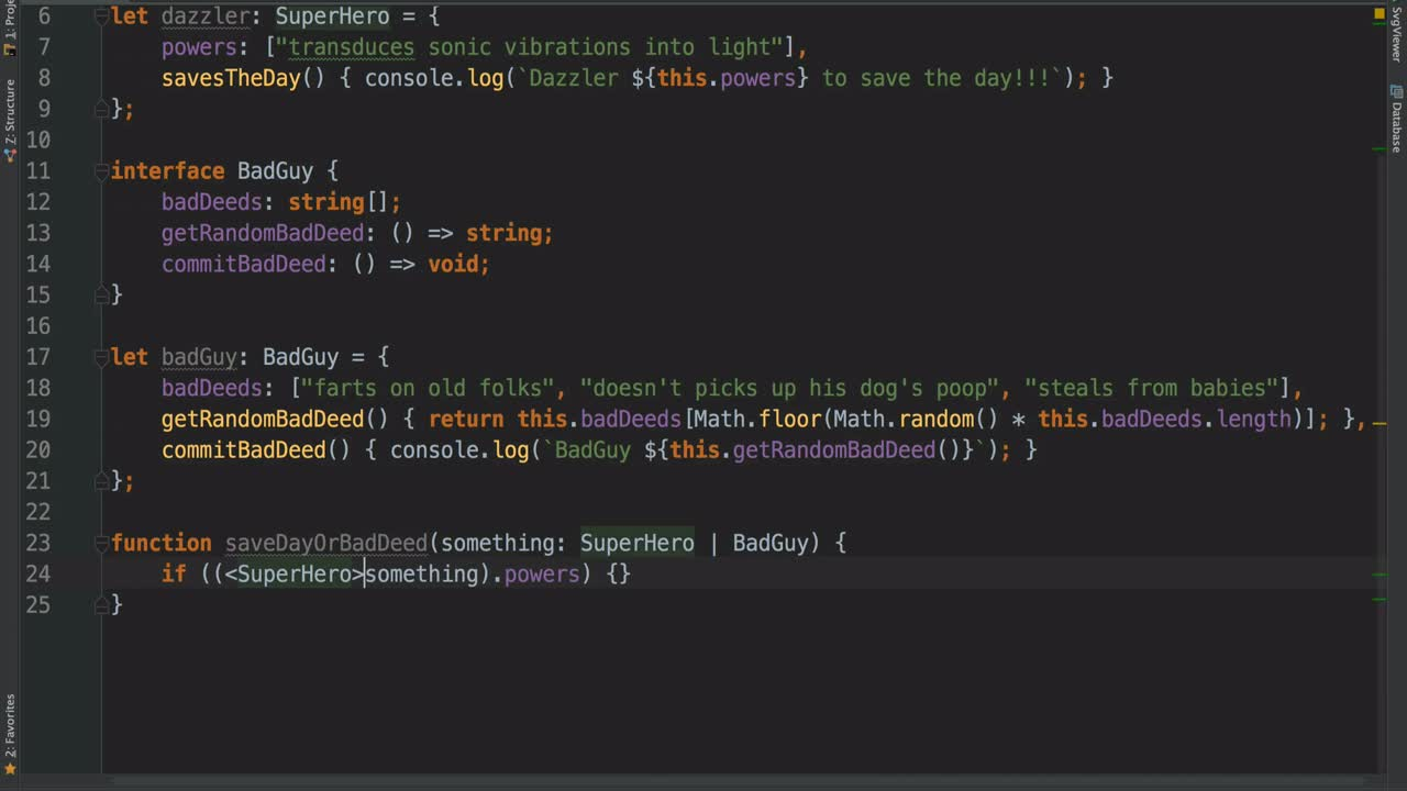 AngularJS tutorial about Using Assertion to Convert Types in TypeScript
