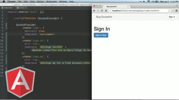 angularjs tutorial about ui-router: Abstract States