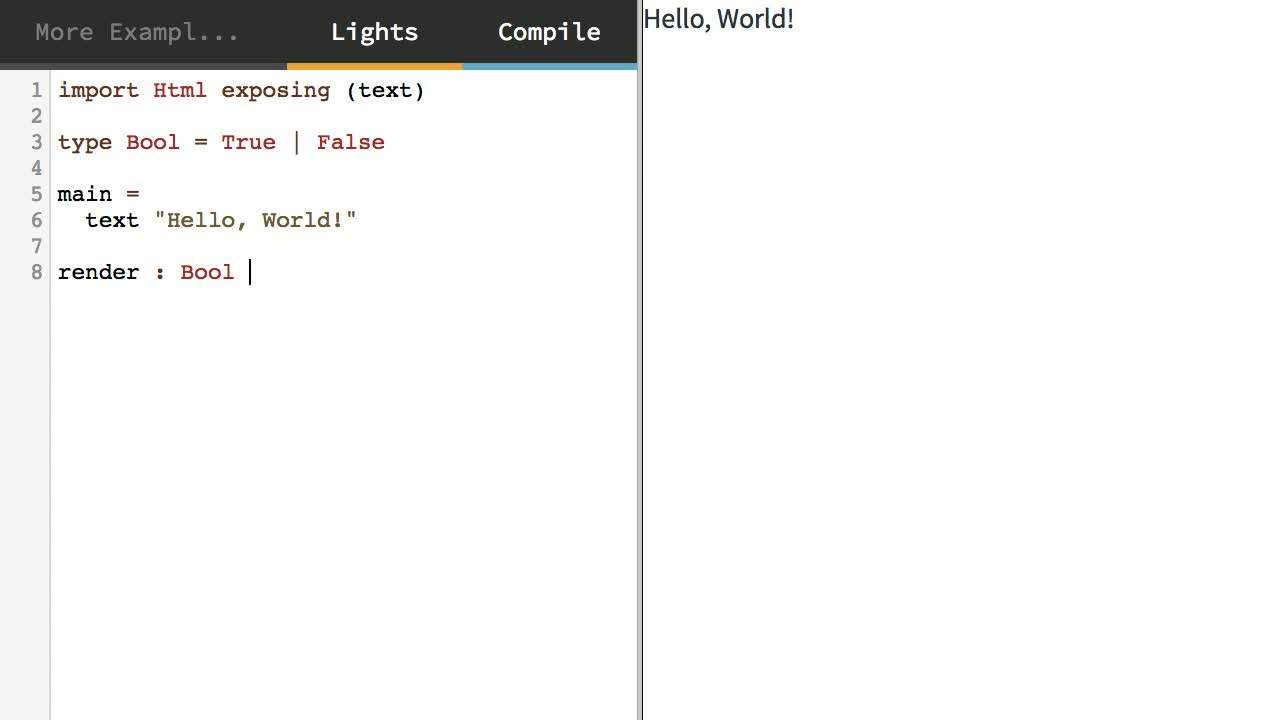 elm tutorial about Pattern Match Expressions with Elm's Boolean Type