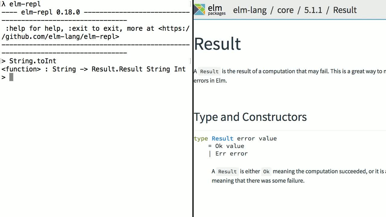 elm tutorial about Handle Errors with Elm's Result Type