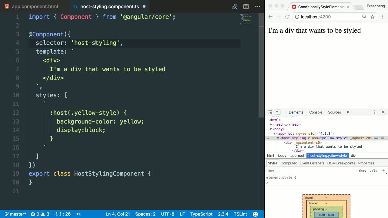 angular2 tutorial about Use Angular's @HostBinding and :host(...) to add styling to the component itself