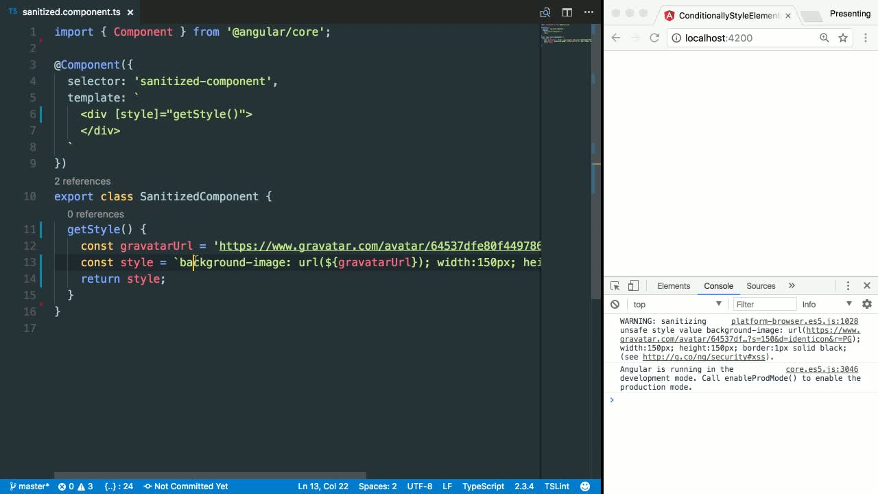 angular2 tutorial about Use Angular style sanitization to mark dynamic styles as trusted values