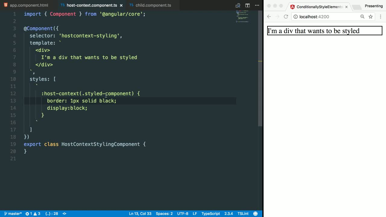 angular2 tutorial about Use :host-context and the ::ng-deep selector to apply context-based styling