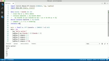 purescript tutorial about Use Sets with Ord Typeclass instances