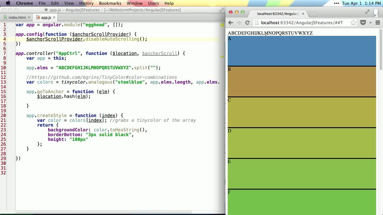 angularjs tutorial about Using $anchorScroll