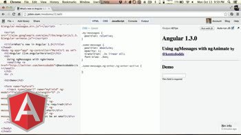 AngularJS tutorial about Using ng-messages with ng-animate